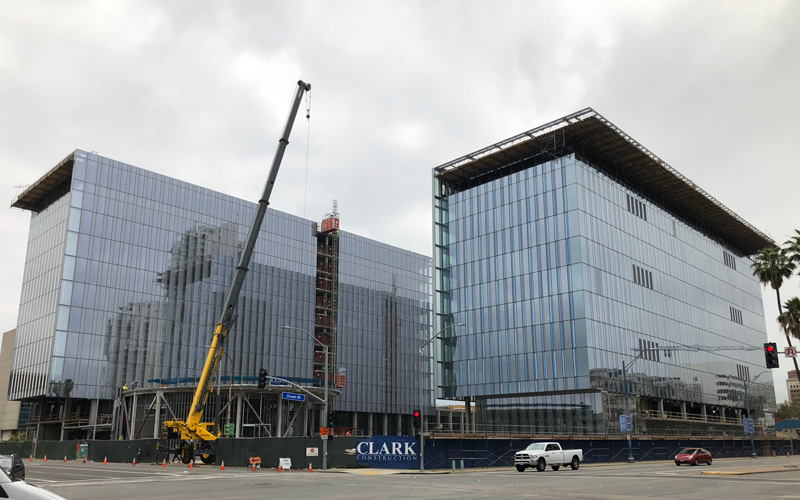 Long Beach Civic Center, benson Industries, Glass Facade, Long Beach California, progress
