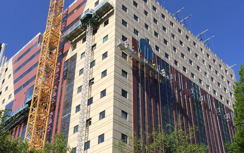 The Portland Building, in progress, construction, facade, Benson Industries